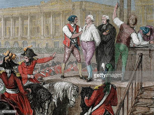 French Revolution. Execution of King Louis XVI on January 21, 1793. Paris. Colored engraving.