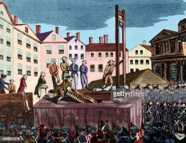 French Revolution Execution of nine young immigrants sentenced to death by a revolutionary court in 1792 Engraving Colored