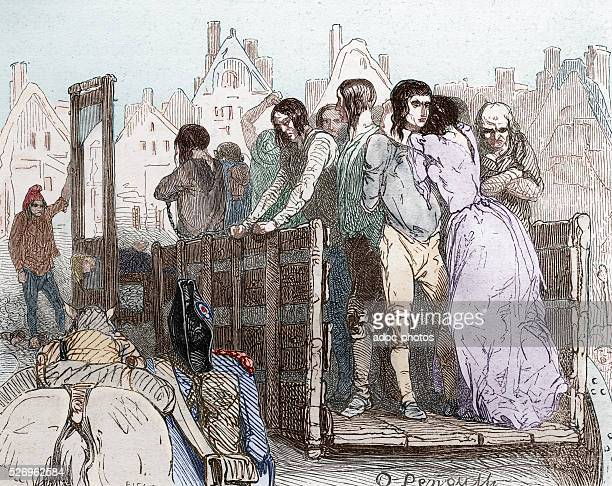 French Revolution Execution under the Reign of Terror 17931794 Coloured engraving