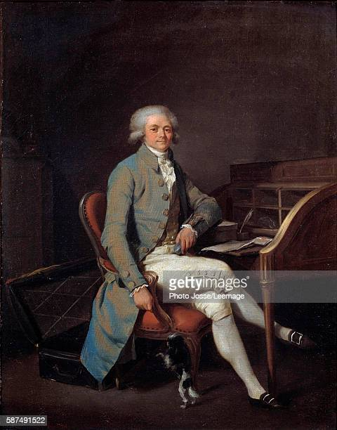 Fulllength portrait of Maximilien Robespierre sitting at his desk Painting by Louis Leopold Boilly 1789 41 x 325 cm BeauxArts Museum Lille France
