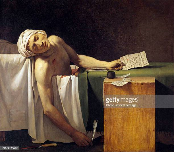 JeanPaul Marat murdered in his bath 13 July 1793 Painting by Jerome Martin Langlois student of JacquesLouis David 19th century57 x 135 m Castle...