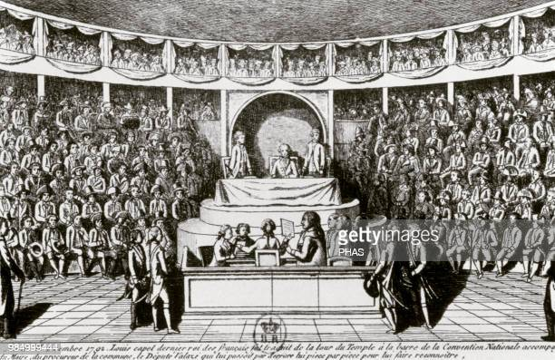 French Revolution National Convention Interrogation of King Louis XVI before the National Convention December 11 1792 Etching of a newspaper of the...