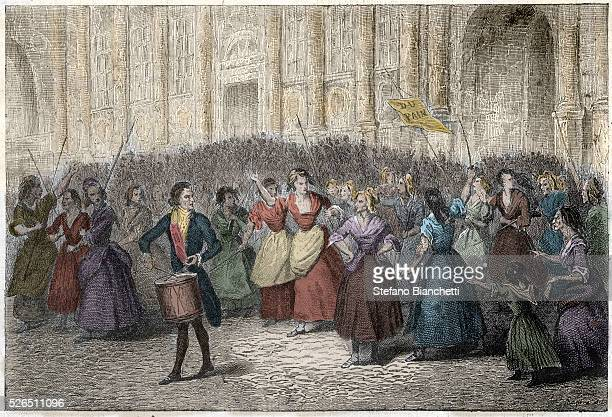 French Revolution of 1789 Parisian women going to Versailles Paris on October 5 1789 Engraving