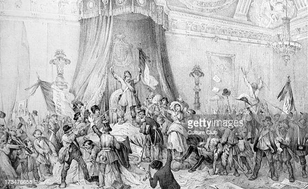 French Revolution of 1848 - mob in the throne room of the Tuileries, February 1848. Under King Louis- Philippe, opposition and political protest was...