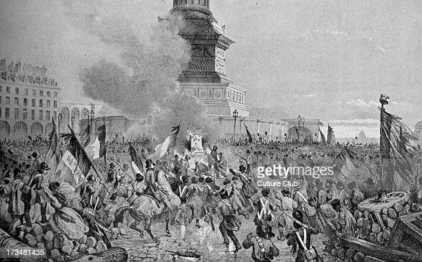 French Revolution of 1848 mob symbolically burning the throne of Charles X on the July Column on Place de la Bastille February 1848