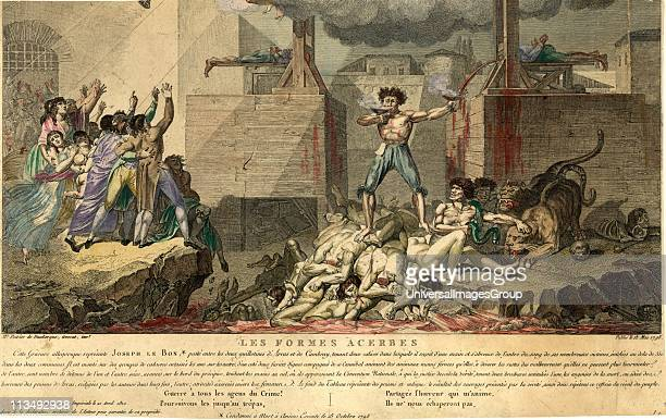 French Revolution Reign of Terror Joseph Le Bon standing on a pile of decapitated bodies between two guillotines drinking blood from one chalice as...