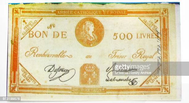 French Revolution Royalist 500 Livres banknote which shows the head of Louis XVIÕs son and was the Royalist answer to the execution of their King