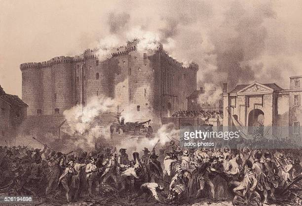 French Revolution The storming of the Bastille in Paris on July 14 1789 Lithography