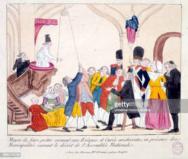 French Revolutionary satirical illustration depicting the humiliation of the Church and Aristocracy