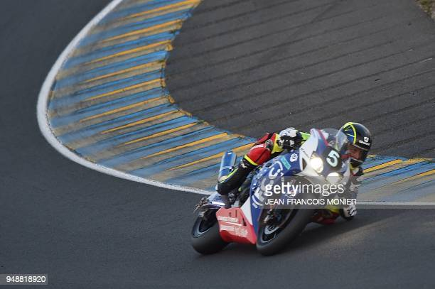 French rider Alan Techer on his Honda Formula EWV N°5 competes during a night practice session, on April 19 in Le Mans, northwestern France, ahead of...