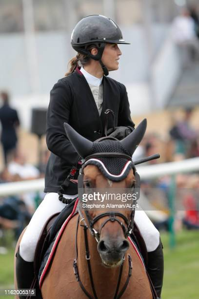 French rider and writer Felicite Herzog, daughter of late alpinist Maurice Herzog, competes in the RENAULT RENT jumping competition against the clock...