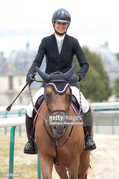 French rider and writer Felicite Herzog daughter of late alpinist Maurice Herzog competes in the RENAULT RENT jumping competition against the clock...