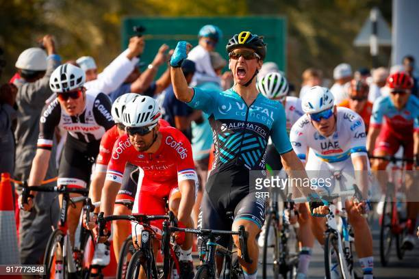 TOPSHOT French rider Bryan Coquard of the team Vital Concept Cycling reacts as he crosses the finish line to win the 1st stage of the cycling Tour of...