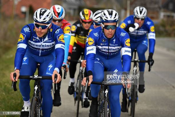 French rider Florian Senechal , Belgian rider Iljo Keisse and teammates of Deceuninck - Quick-Step team take part in the reconnaissance of the track...