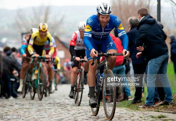 French rider Florian Senechal of Deceuninck - Quick-Step competes in the 71st edition of the Kuurne-Brussels-Kuurne one day cycling race 1 km from...