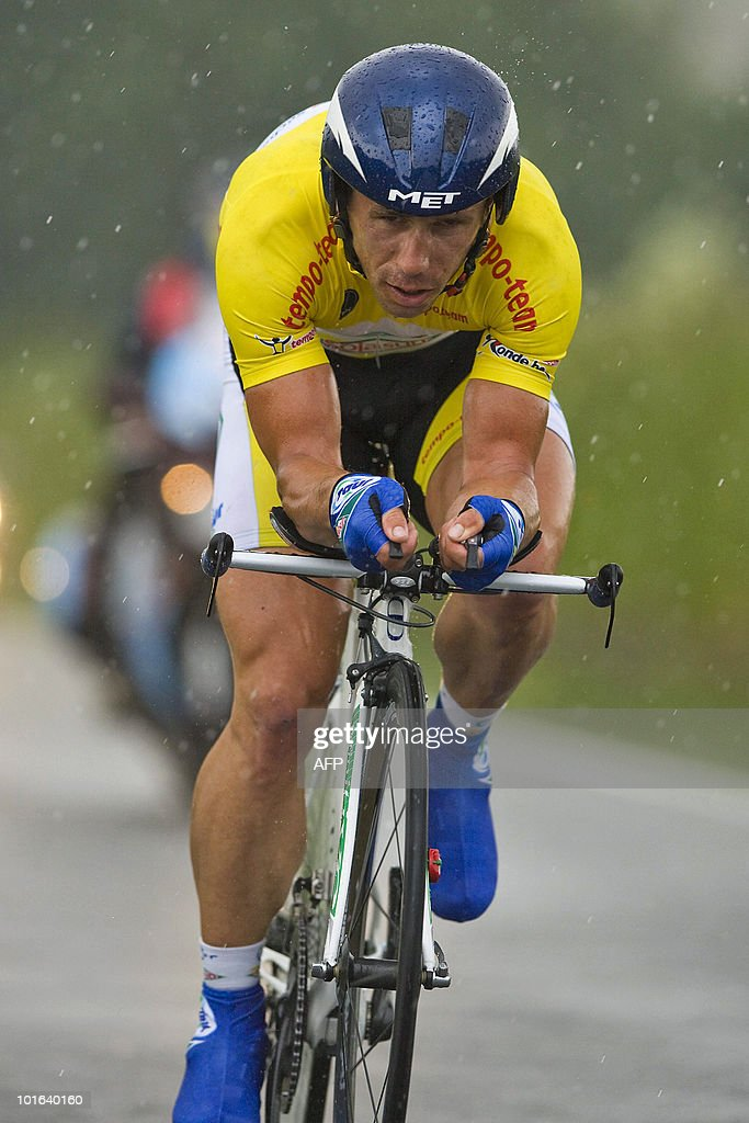 French rider Jimmy Casper competes in the fourth stage (time trial) of the Ronde van Belgie (Tour de Belgique - Tour of Belgium) cycling race from Herzele to Herzele, on May 29, 2010, in Herzele.