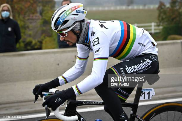 """French rider Julian Alaphilippe of Deceuninck - Quick-Step competes during the """"Ronde van Vlaanderen - Tour des Flandres - Tour of Flanders"""" one day..."""