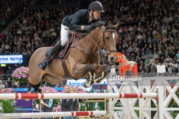 French rider Kevin Staut on For Joy van't Zorgvliet HDC competes in the FEI World Cup Jumping event during the Gothenburg Horse Show at Scandinavium...