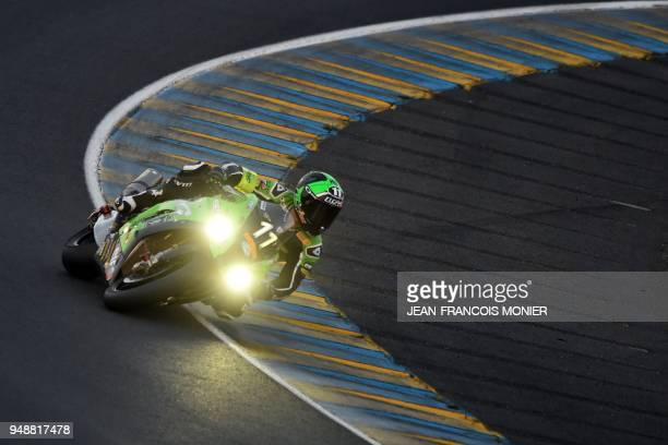 TOPSHOT French rider Randy de Puniet on his Kawasaki Formula EWV N°11 competes during a night practice session on April 19 in Le Mans northwestern...