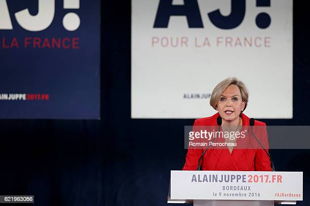 French right wing Les republicains party member Virginie Calmels first deputy of the mayor of Bordeaux talks during a meeting at Palais des congres...