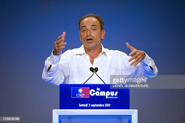 French right wing UMP party general secretary Jean-François Copé delivers a speech during the French right wing UMP party Campus des Jeunes...