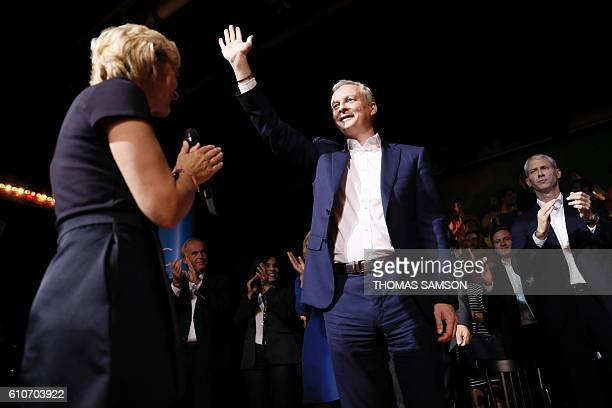 French right-wing Les Republicains candidate for the LR party primaries ahead of the 2017 presidential election, Bruno Le Maire waves as he arrives...