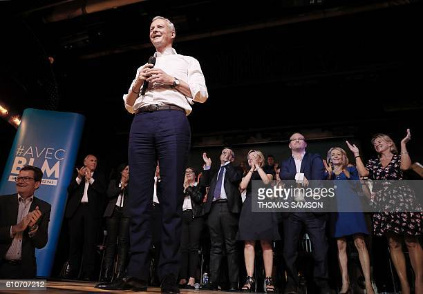 French right-wing Les Republicains candidate for the LR party primaries ahead of the 2017 presidential election, Bruno Le Maire is applauded after...