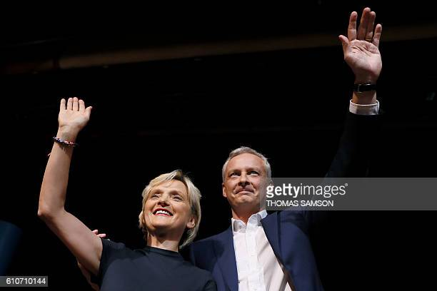 French right-wing Les Republicains candidate for the LR party primaries ahead of the 2017 presidential election, Bruno Le Maire and Mayor of the 5th...