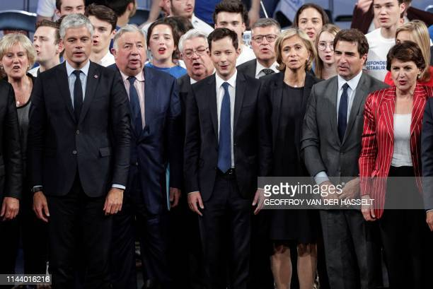 French right-wing Les Republicains' front runner candidate for the upcoming European elections Francois-Xavier Bellamy and party leaders sing the...
