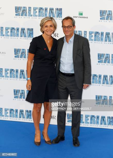 French right-wing Les Republicains party member and president of the Ile-de-France regional council Valerie Pecresse and her husband Jerome pose for...