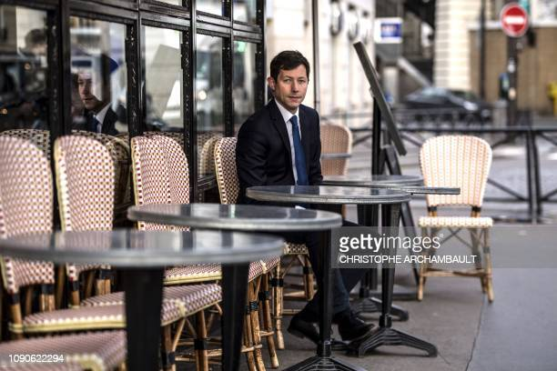 French rightwing Les Republicains party member François-Xavier Bellamy poses in Paris on January 28, 2019 after being designated by his party as list...