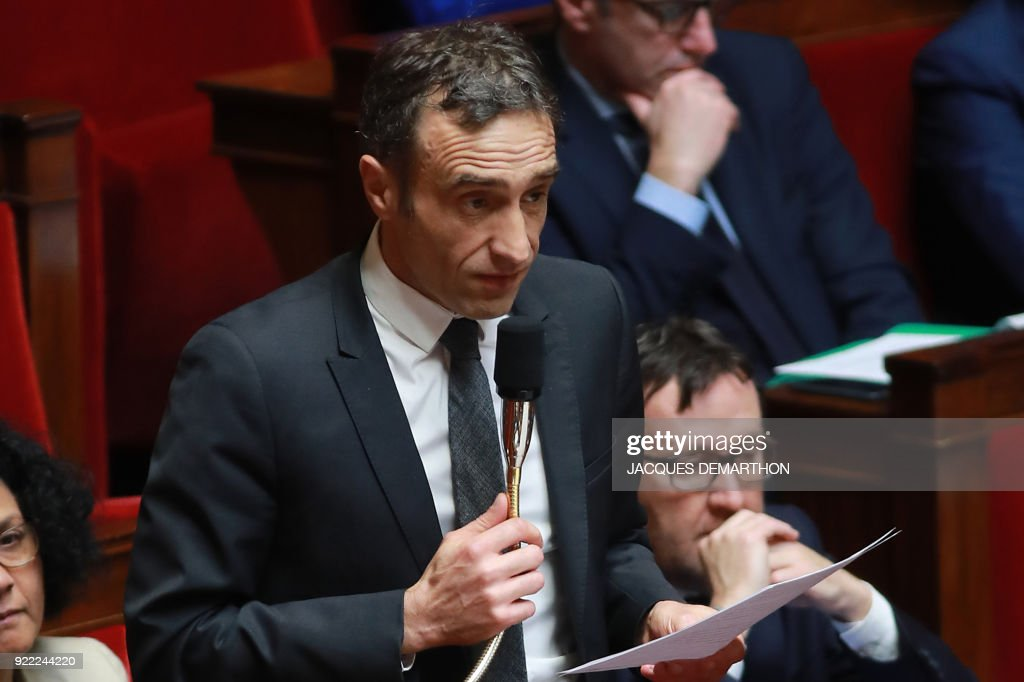 French right-wing Les Republicains (LR) party member of parliament Arnaud Viala speaks during a session of questions to the government at the National Assembly in Paris on February 21, 2018