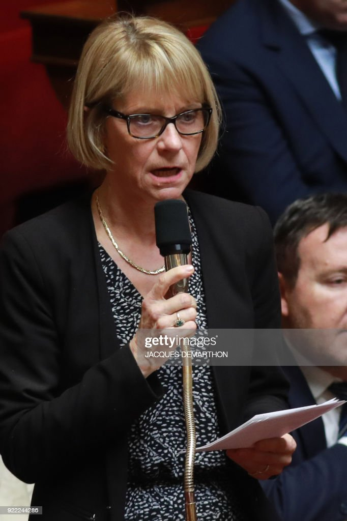 French right-wing Les Republicains (LR) party member of parliament Veronique Louwagie speaks during a session of questions to the government at the National Assembly in Paris on February 21, 2018. /