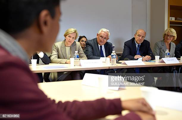 French rightwing Les Republicains party member Virginie Calmels former French prime minister and Senator for Vienne JeanPierre Raffarin and...