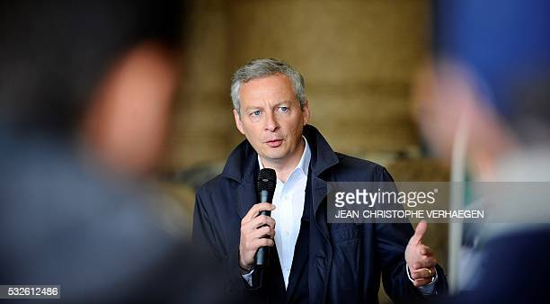 French right-wing Les Republicains party MP and candidate for the party's primary for the 2017 presidential election, Bruno Le Maire addresses...