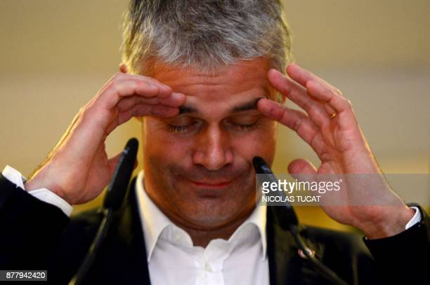French rightwing Les Republicains party vicepresident and candidate for the party's presidency Laurent Wauquiez gestures as he delivers a speech...