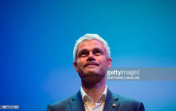 French rightwing Les Republicains party vicepresident and candidate for the party's presidency Laurent Wauquiez attends a campaign meeting in Toulon...