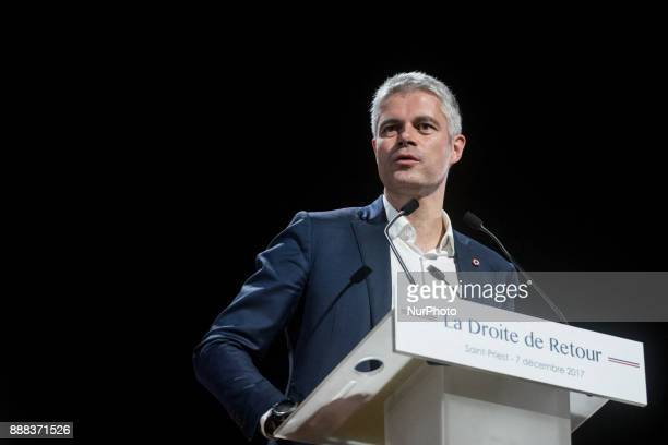 French rightwing Les Republicains party vicepresident and candidate for the party's presidency Laurent Wauquiez delivers a speech during a campaign...