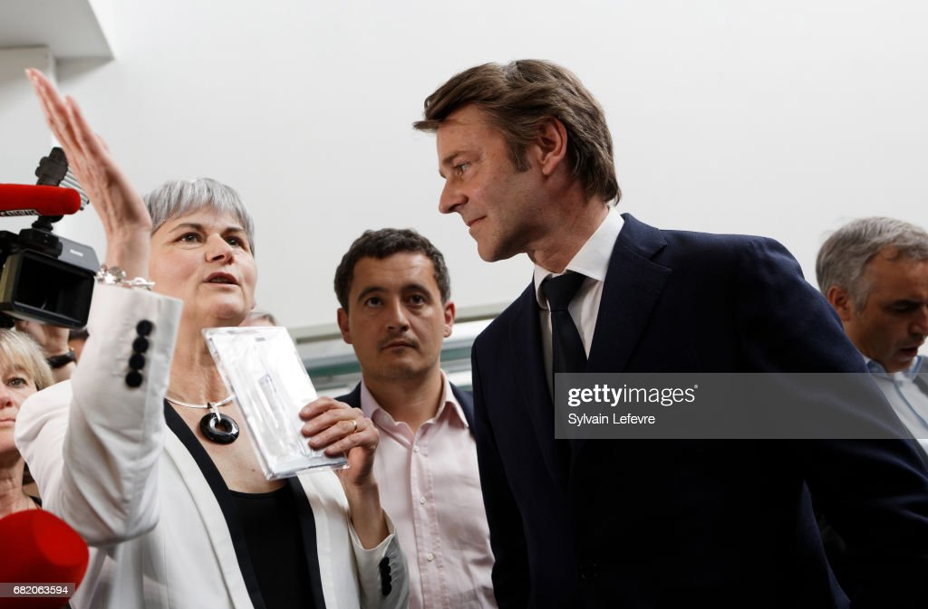 French Right-wing Les Republicains (LR) Party Senator Francois Baroin Visits Northern France : News Photo