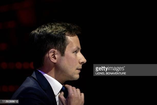 French right-wing Les Republicains's front runner candidate for the upcoming European elections François-Xavier Bellamy takes part in a debate...
