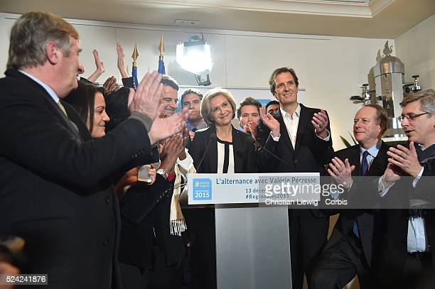 French right-wing party Les Republicains top candidate for the regional elections in Ile-de-France region Valerie Pecresse, flanked by Meaux deputy...