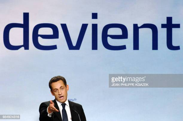 French rightwing party UMP presidential candidate Nicolas Sarkozy delivers a speech during a meeting 05 April 2007 in Lyon eastern France Sooner...