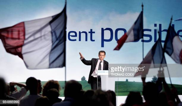 French rightwing presidential candidate of the ruling party Union for a Popular Movement Nicolas Sarkozy delivers a speech during an electoral...