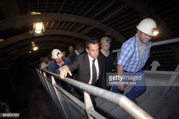 French rightwing presidential candidate of the ruling party Union for a Popular Movement Nicolas Sarkozy visits a former coal mine in PetiteRosselle...