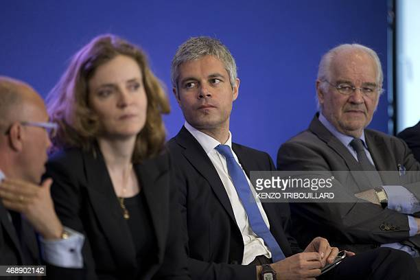 French righwing party UMP general secretary Laurent Wauquiez attends a meeting at the UMP headquarters in Paris on April 8 2015 AFP PHOTO KENZO...