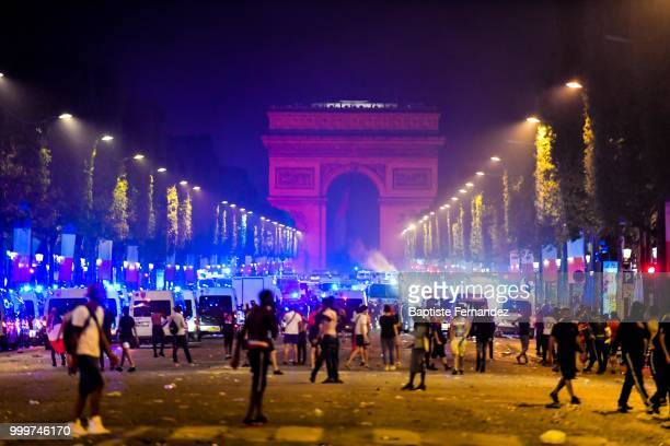French riot police evacuates the Champs Elysees after the FIFA World cup final match between France and Croatia on July 15 2018 in Paris France