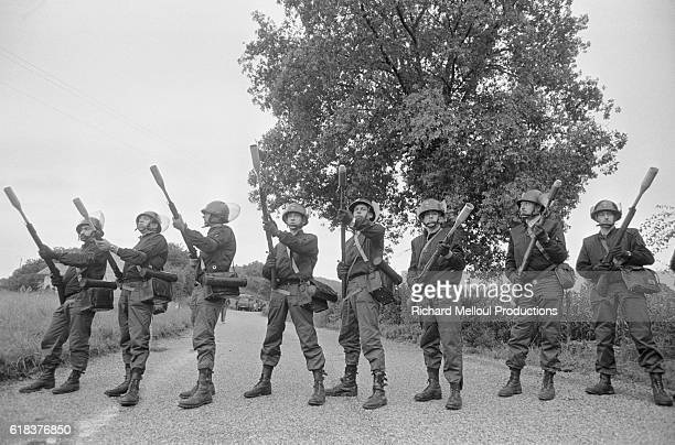 French riot police guard against the 60,000 European anti-nuclear activists protesting the breeder reactor at Creys-Malville. During the protest, a...