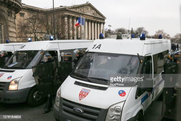 French riot police take security measures near the Assemblée Nationale against yellow Vests protesters in Paris France on January 05 2019