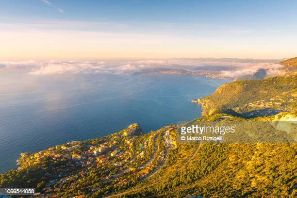 french riviera coastal landscape - alpes maritimes stock pictures, royalty-free photos & images