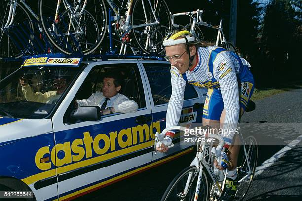 French road racing cyclist Laurent Fignon and his directeur sportif Cyrille Guimard, during the 1991 Paris-Nice.